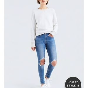 NWT Levi's 721 High Rise Ripped Skinny Jeans 24x30